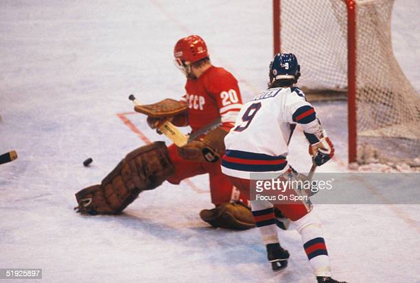 Team USA' Neal Broten shoots against Russia's goalie during the Winter Olympics in Lake Placid The USA went on to win the gold medal by defeating...