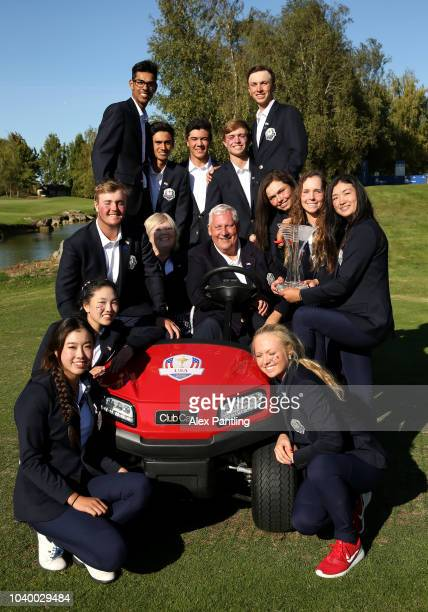 Team USA pose for a photo after winning the Junior Ryder Cup following the singles on day two of the 2018 Junior Ryder Cup at Disneyland Paris on...