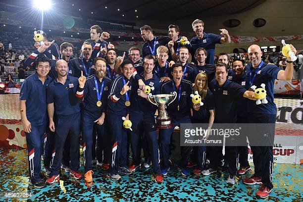 Team USA pose for photographers during the FIVB Men's Volleyball World Cup Japan 2015 at Yoyogi National Gymnasium First Gymnasium on September 23...