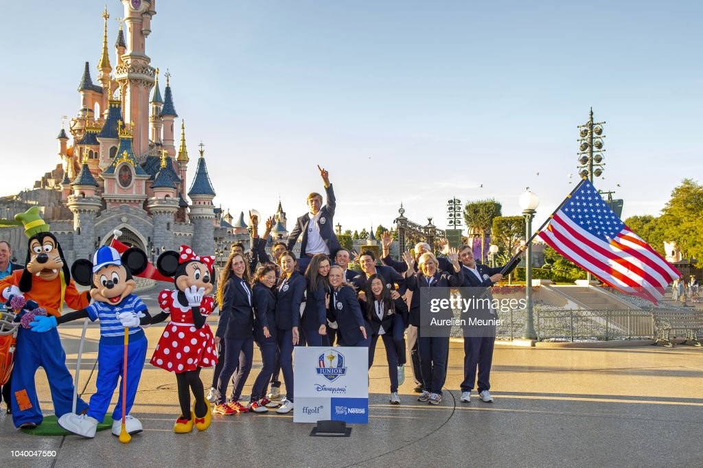 Team USA pose in front of the Magic Castle after the 2018