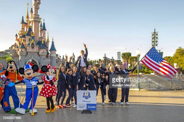 Team USA pose in front of the Magic Castle after the 2018 Junior Ryder Cup at Disneyland Paris on September 25 2018 in Paris France