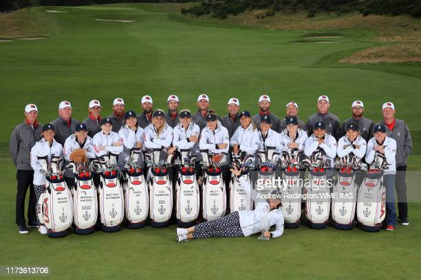 Team USA pose with their caddies and bags during practice day 2 for The Solheim Cup at Gleneagles on September 10 2019 in Auchterarder Scotland