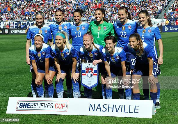 Team USA poses for a team photo prior to a game against France during an international friendly match in the SheBelieves Cup at Nissan Stadium on...