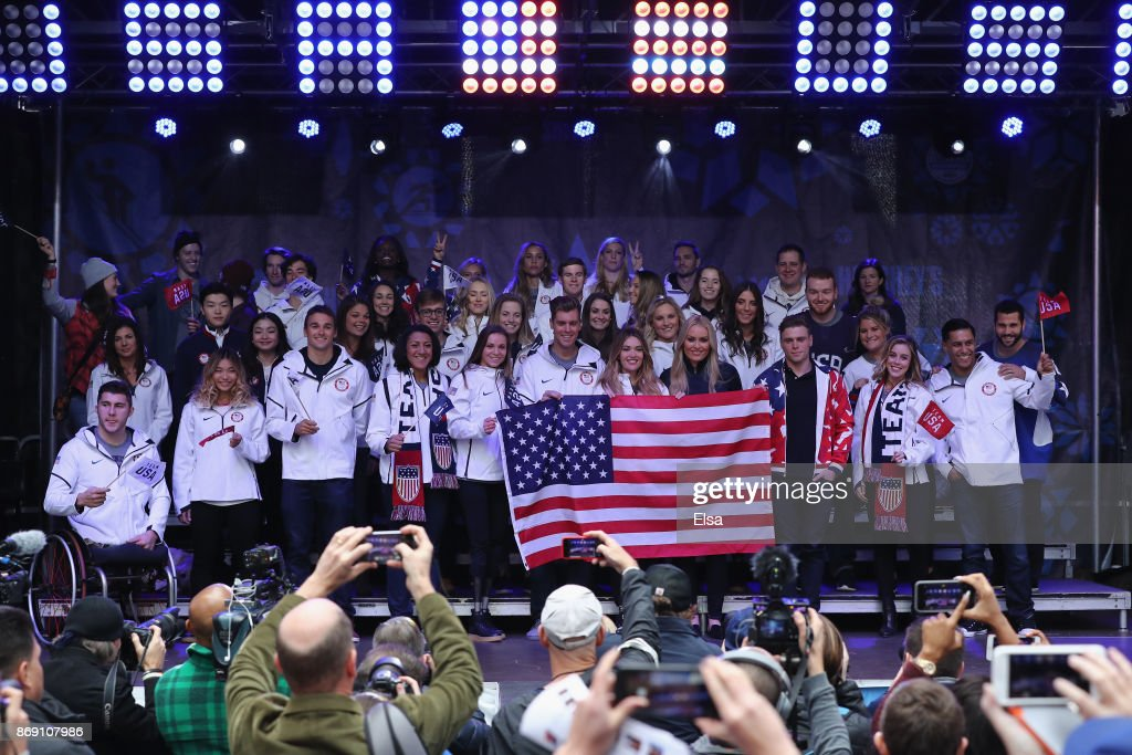 Team USA poses on stage during the 100 Days Out 2018 PyeongChang Winter Olympics Celebration in Times Square on November 1, 2017 in New York City.