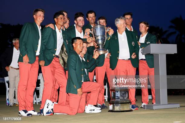 Team USA poses with the trophy after defeating Team Great Britain and Ireland on Day Two of The Walker Cup at Seminole Golf Club on May 09, 2021 in...