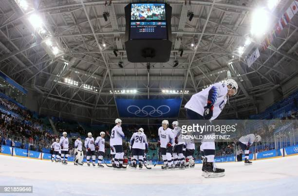 Team USA react after after loosing in the men's quarter-final ice hockey match between Czech Republic and the USA during the Pyeongchang 2018 Winter...