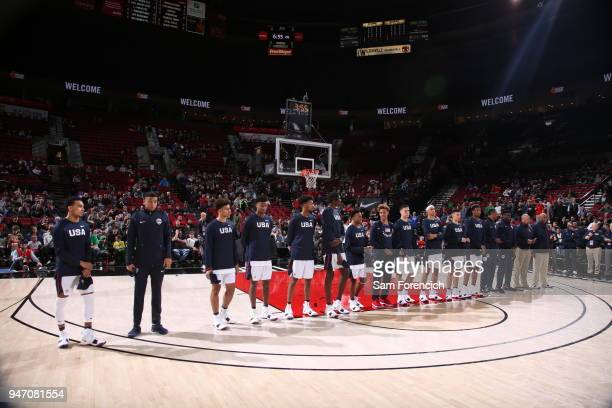 Team USA stands on the court for the National Anthem before the Nike Hoop Summit against Team World on April 13 2018 at the MODA Center Arena in...