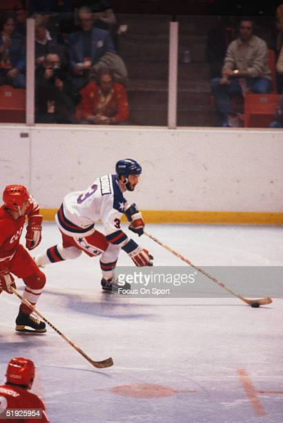 Team USA' Steve defenceman Ken Morrow skates with the puck during the Winter Olympics against Russia in Lake Placid The USA went on to win the gold...