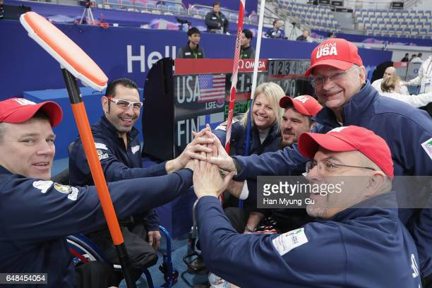 Team USA talks with head coach, Steve Brown the World Wheelchair Curling Championship 2017 - test event for PyeongChang 2018 Winter Olympic Games at...
