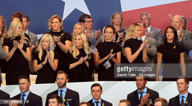Team USA teams wives and girlfriends including Amy Mickelson Jena Sims and Paulina Gretzky during the opening ceremony of the Ryder Cup at Le Golf...