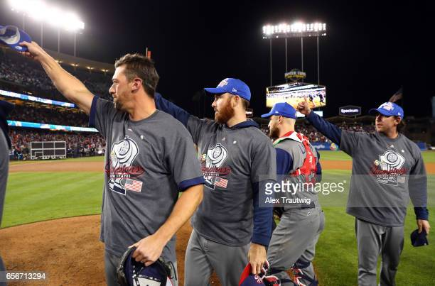 Team USA tips their caps to Team Puerto Rico after Game 3 of the Championship Round of the 2017 World Baseball Classic on Wednesday March 22 2017 at...