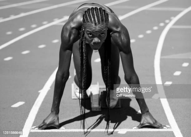 Team USA track and field athlete Shakima Wimbley poses for a photo during a training session June 23, 2020 in Miami Beach, Florida.
