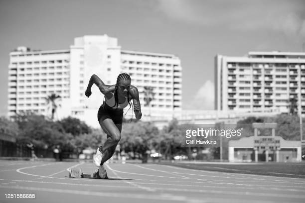 Team USA track and field athlete Shakima Wimbley takes part in a training session June 23, 2020 in Miami Beach, Florida.
