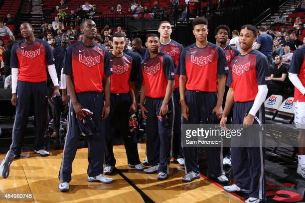 Team USA waits to play against the World Team on April 12 2014 at the Moda Center Arena in Portland Oregon NOTE TO USER User expressly acknowledges...
