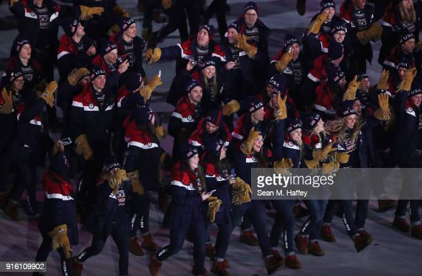 Team USA walks in the Parade of Athletes during the Opening Ceremony of the PyeongChang 2018 Winter Olympic Games at PyeongChang Olympic Stadium on...