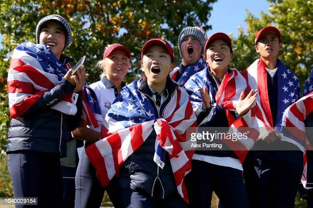 Team USA watch on the 18th green during the singles on day two of the 2018 Junior Ryder Cup at Disneyland Paris on September 25 2018 in Paris France