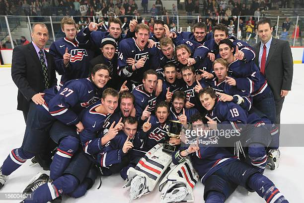 Team USA wins the U-18 Four Nations Cup tournament against Team Sweden in the championship game 3-1 on November 10, 2012 at the Ann Arbor Ice Cube in...