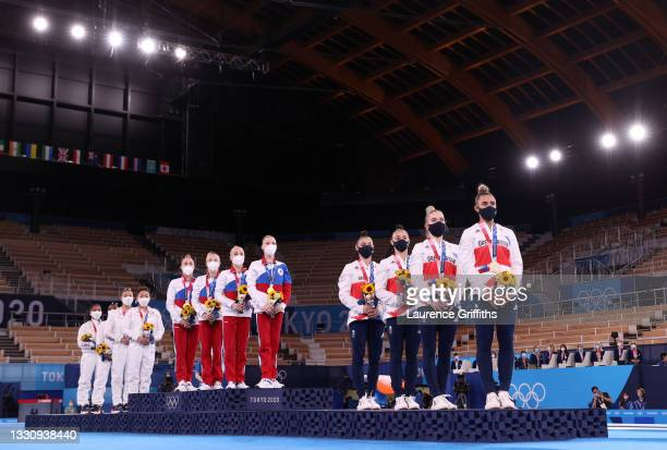 Team USA with Silver, Team ROC with Gold and Great Britain with Bronze during the medal ceremony in the Women's Team Final on day four on day four of...