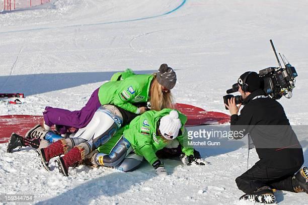 Team USA women's speed team celebrate Alice Mckennis victory on Kandahar course for the Audi FIS Alpine Ski World Cup downhill race on January 12...