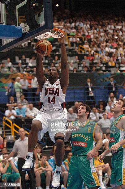Team USA's Elton Brand dunks home two points versus Australia during the Final Eight round of the 2006 FIBA World Championships at Saitama Super...