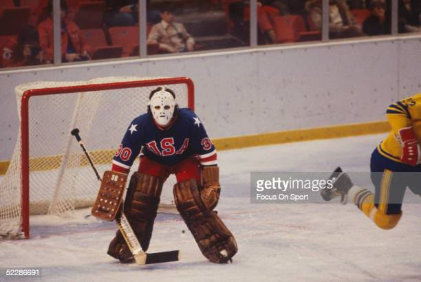 Team USA's goalie Jim Craig guards the net during the XIII Olympic Winter Games in February of 1980 in Lake Placid New York