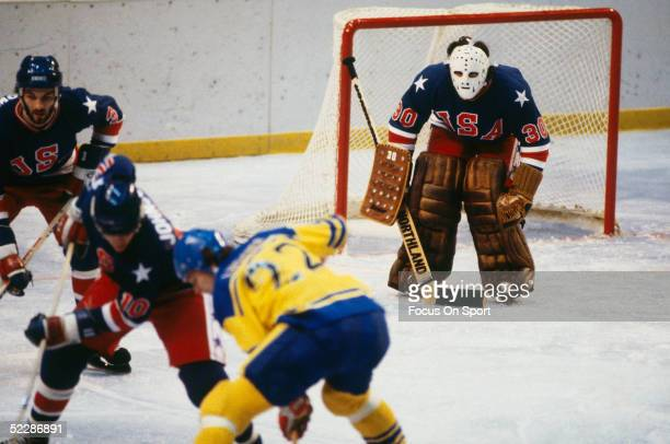 Team USA's goalie Jim Craig guards the side of the net against team Sweden during the XIII Olympic Winter Games in February of 1980 in Lake Placid...