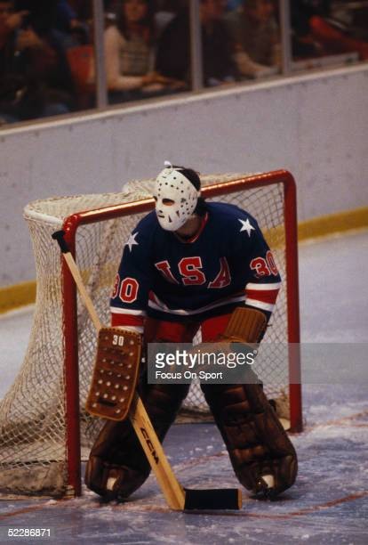 Team USA's goalie Jim Craig guards the side of the net during the XIII Olympic Winter Games in February of 1980 in Lake Placid New York