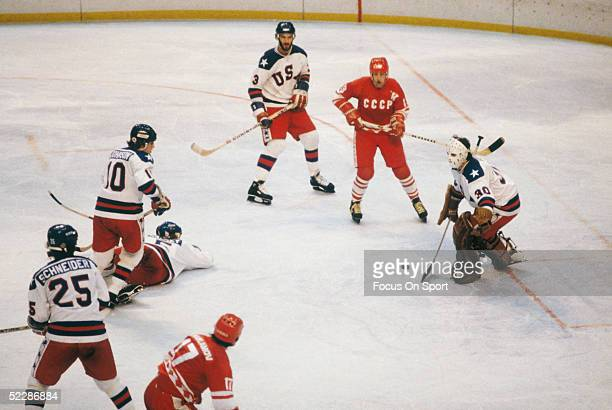 Team USA's goalie Jim Craig makes a save against team Russia during the XIII Olympic Winter Games in February of 1980 in Lake Placid New York