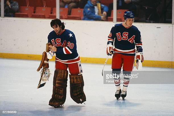 Team USA's goalie Jim Craig skates to the net during the XIII Olympic Winter Games in February of 1980 in Lake Placid New York