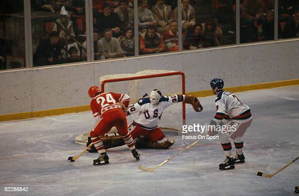 Team USA's goalie Jim Craig slides to guard the net during the XIII Olympic Winter Games circa February of 1980 in Lake Placid New York