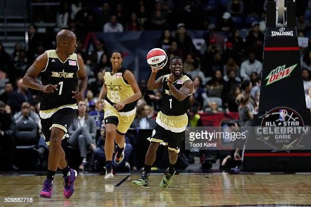 Team USA's head coach Kevin Hart passes the ball during the annual celebrity game against Team Canada part of the NBA allstar weekend in Toronto...