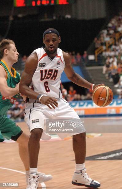 Team USA's LeBron James drives around a defender versus Australia during the Final Eight round of the 2006 FIBA World Championships at Saitama Super...