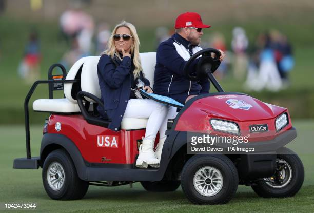 Team USA's Phil Mickelson wife Amy during the Foursomes match on day one of the Ryder Cup at Le Golf National SaintQuentinenYvelines Paris