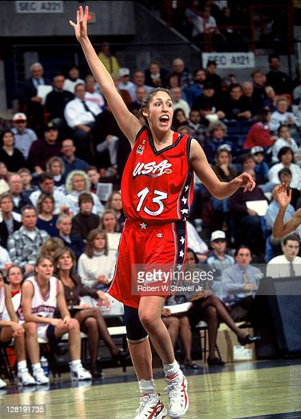 Team USA's Rebecca Lobo calls for the basketball in an exhibition game against her former team the UConn Huskies Storrs CT 1995