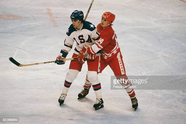 Team USA's Steve Christoff stands his groud against Zinetula Bilyaletdinov of the Soviet Union during the XIII Olympic Winter Games in February of...