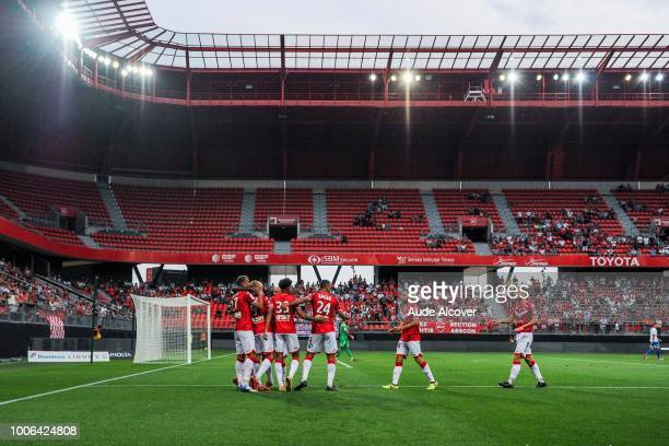 Team Valenciennes celebrates during the Ligue 2 match between Valenciennes and Auxerre at Stade du Hainaut on July 27 2018 in Valenciennes France
