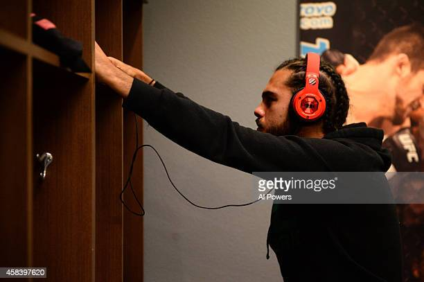 Team Velasquez fighter Marco Beltran stands in the locker room before facing teammate Jose Alberto Quinonez in their semifinal fight during filming...