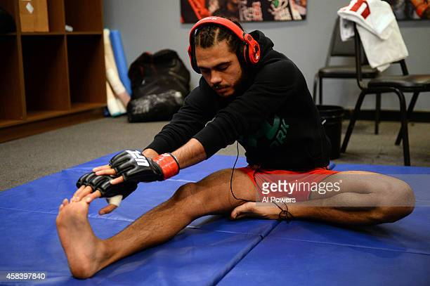 Team Velasquez fighter Marco Beltran warms up in the locker room before facing teammate Jose Alberto Quinonez in their semifinal fight during filming...