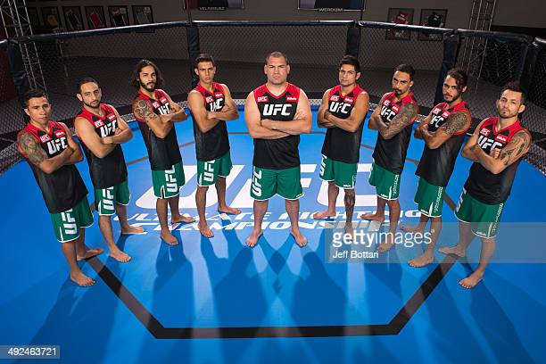 Team Velasquez poses for a group portrait inside the Octagon on media day during filming of The Ultimate Fighter Latin America on May 15 2014 in Las...