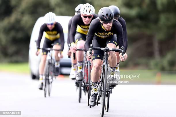 Team Velofit - Santic Racing of Australia, Matthew Upton; Jordon Schmidt; Darcy Pirotta; Bryce Lanigan; Jacob Langham; Jasper Albrecht on day one...
