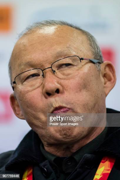Team Vietnam manager HangSeo Park talks to media during the post match press conference of the AFC U23 Championship China 2018 Group D match between...