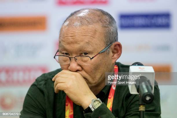 Team Vietnam manager HangSeo Park talks to media during the post match press conference of the AFC U23 Championship China 2018 Quarterfinals match...