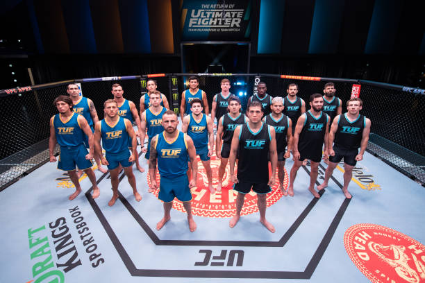 Team Volkanovski and Team Ortega pose for a group portrait during the filming of The Return of The Ultimate Fighter on April 21, 2021 in Las Vegas,...