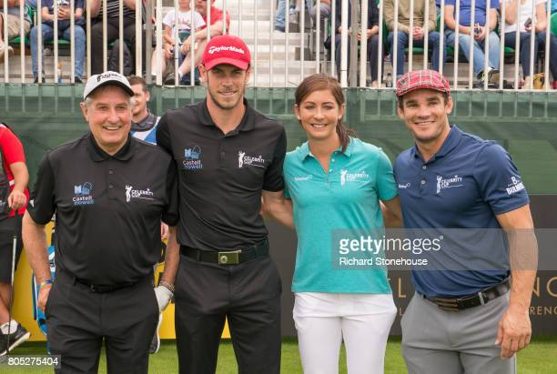 Team Wales Sir Gareth Edwards and Gareth Bale with Team Scotland Eve Muirhead and Max Evans on Day one of the Celebrity Cup at Celtic Manor Resort at...