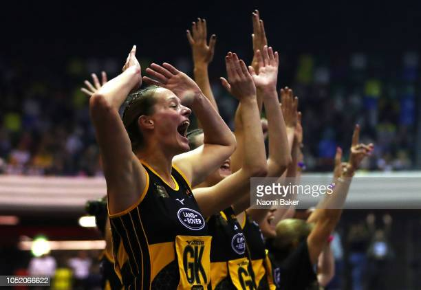 Team Wasps bench celebrates their teams win during the final during the British Fast5 Netball AllStars Championship at Copper Box Arena on October 13...