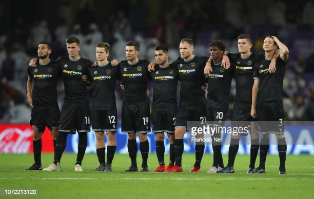 Team Wellington players look despondent during the penalty shoot out in the FIFA Club World Cup first round play-off match between Al Ain FC and Team...
