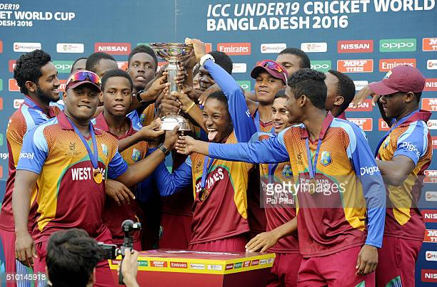 Team West Indies celebrates with the ICC U19 World Cup trophy West Indies won the Final Match between India and West Indies on February 14 2016 in...