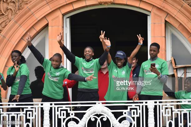 Team West Indies pose on one of the dressing room balconies in the Street Child Cricket World Cup at Lords Cricket Ground in London on May 7 2019...