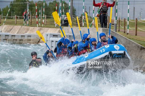 Team white water rafting at Lee Valley White Water Centre on the 7th June 2019 in London in the United Kingdom