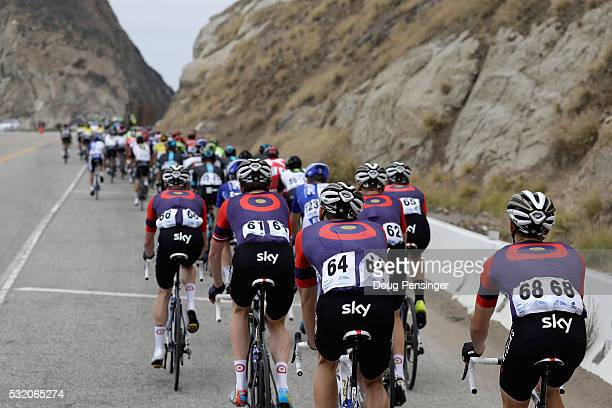 Team Wiggins rides in the peloton as they race toward the Point Mugu Rock on the Pacific Coast Highway during stage three of the 2016 Amgen Tour of...
